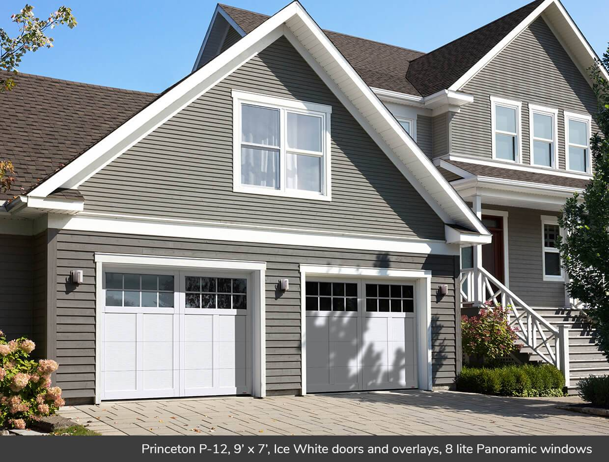 Princeton P-12, 9' x 7', Ice White doors and overlays, 8 lite Panoramic windows