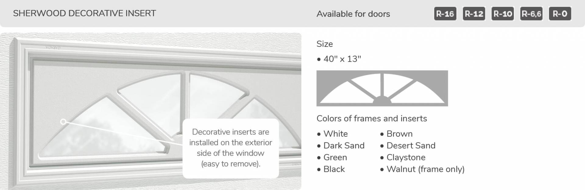 "Sherwood Decorative Insert, 40"" x 13"", available for doors R-16, R-12, R-10, R-6.6, R-0"