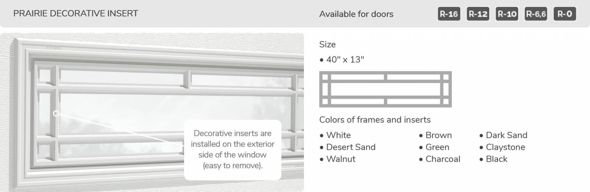 "Prairie Decorative Insert, 40"" x 13"", available for doors R-16, R-12, R-10, R-6.6, R-0"
