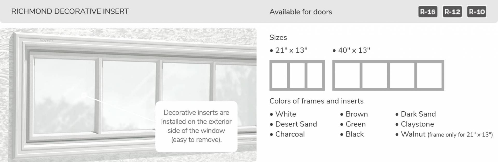 Richmond Decorative Insert, 21' x 13' and 40' x 13', available for doors R-16, R-12 and R-10