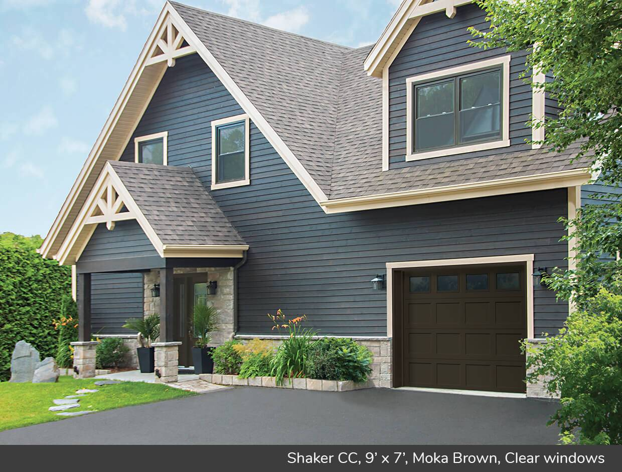 Shaker CC, 9' x 7', Moka Brown, Clear windows